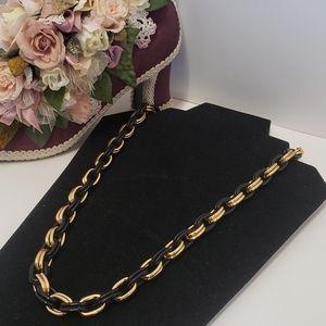 Unique Vintage Gold & Black Chain Link Necklace